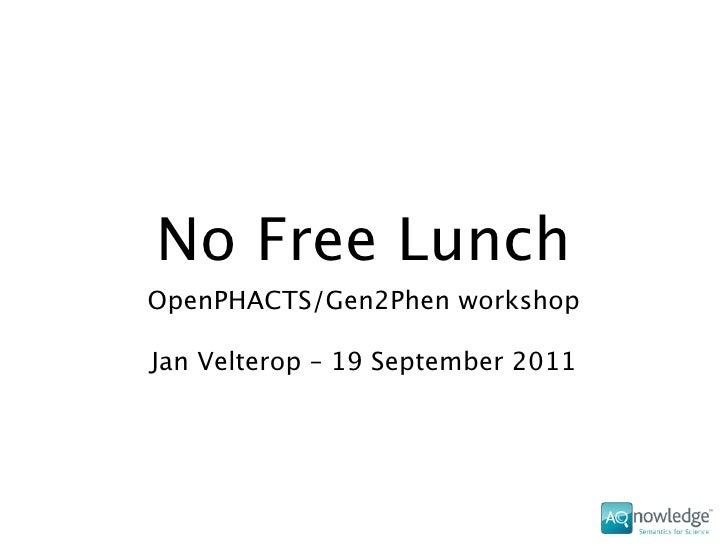 No Free LunchOpenPHACTS/Gen2Phen workshopJan Velterop – 19 September 2011