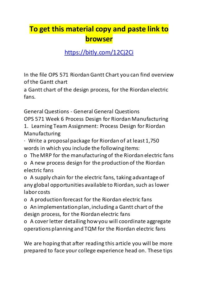 Process Design For Riordan Manufacturing