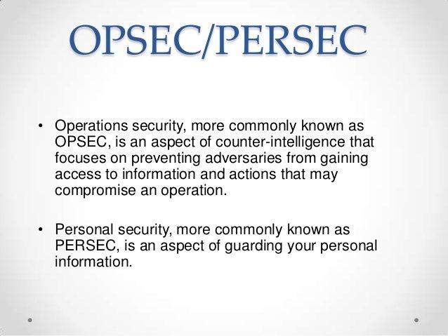 OPSEC / PERSEC