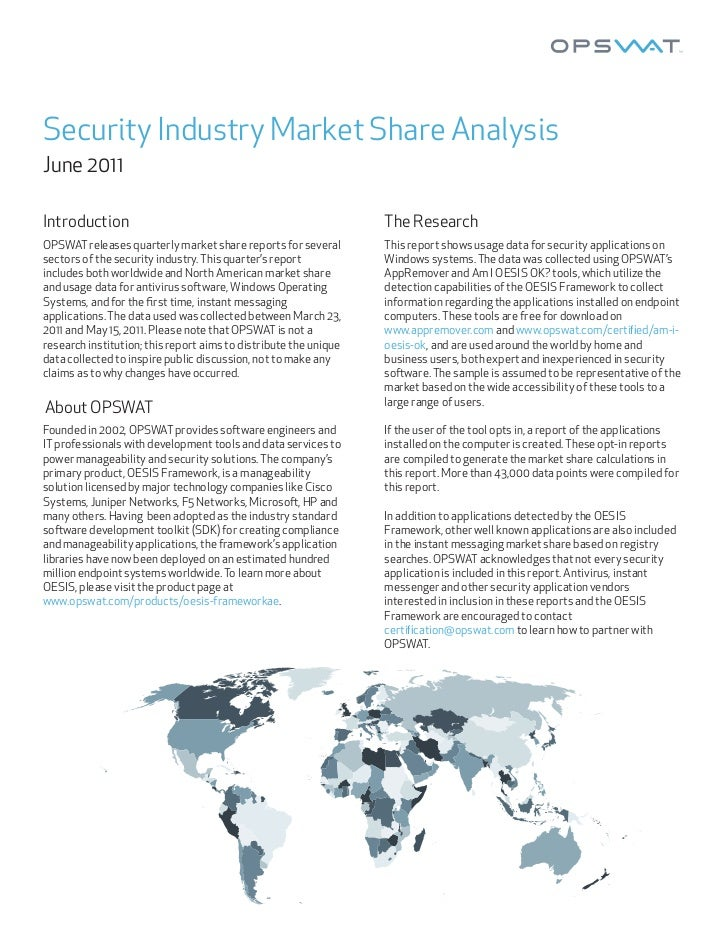 Security Industry Market Share AnalysisJune 2011Introduction                                                      The Rese...