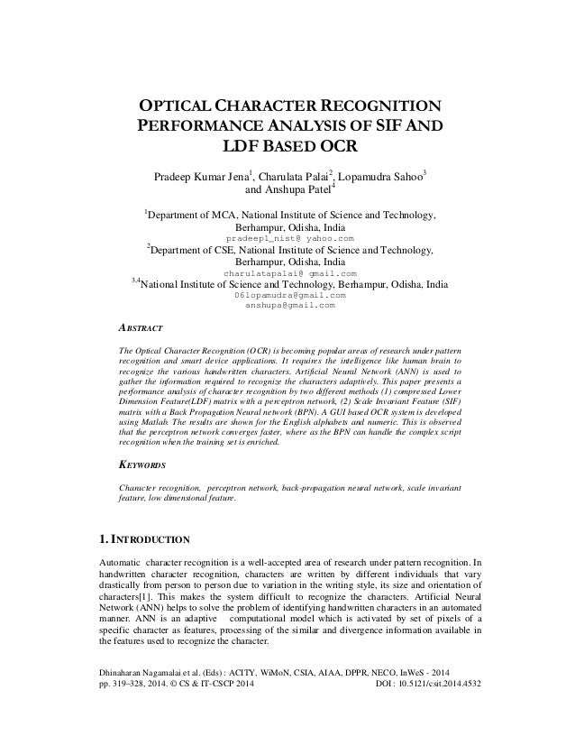 Optical character recognition performance analysis of sif and ldf based ocr