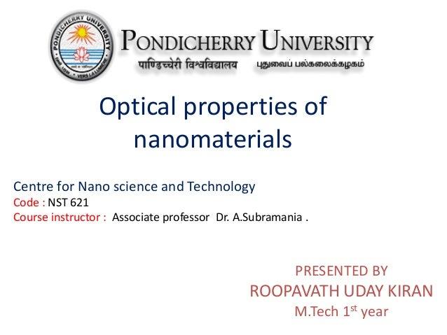 Optical properties of nanomaterials