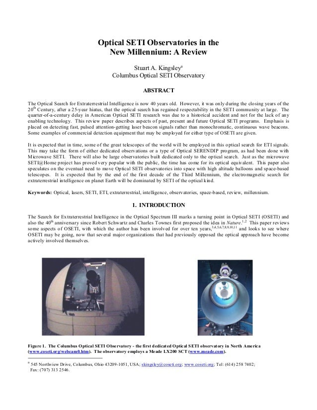 Optical SETI Observatories in the                                       New Millennium: A Review                          ...