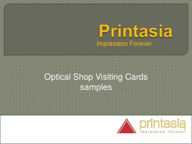 Impression Forever Optical Shop Visiting Cards samples