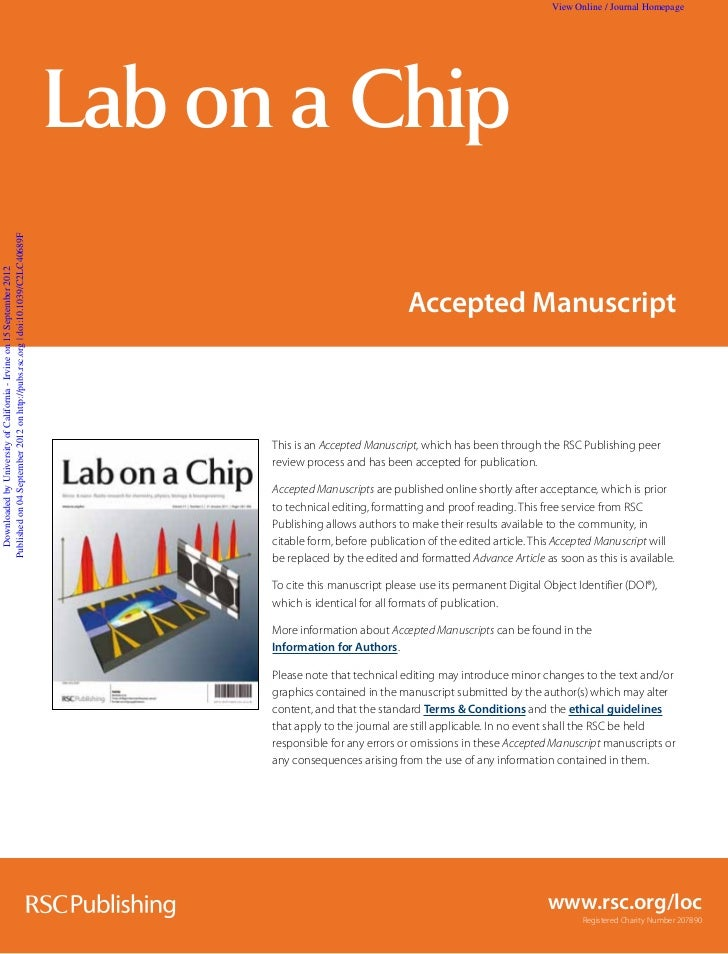 View Online / Journal Homepage                                                                                 Lab on a Ch...