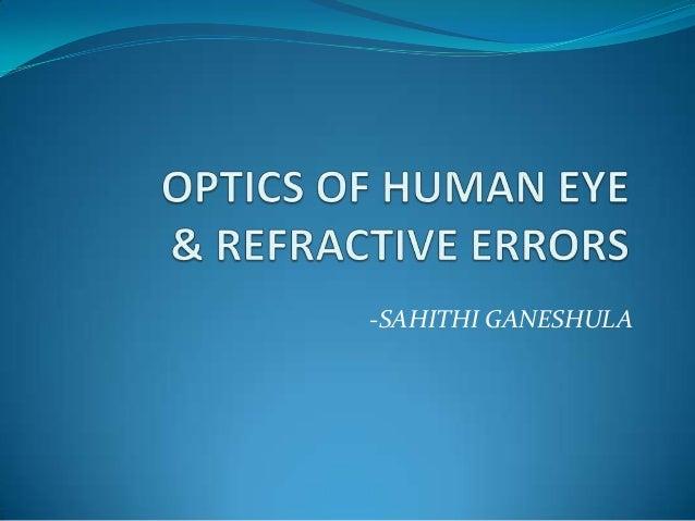 Optics of human eye & refractive errors