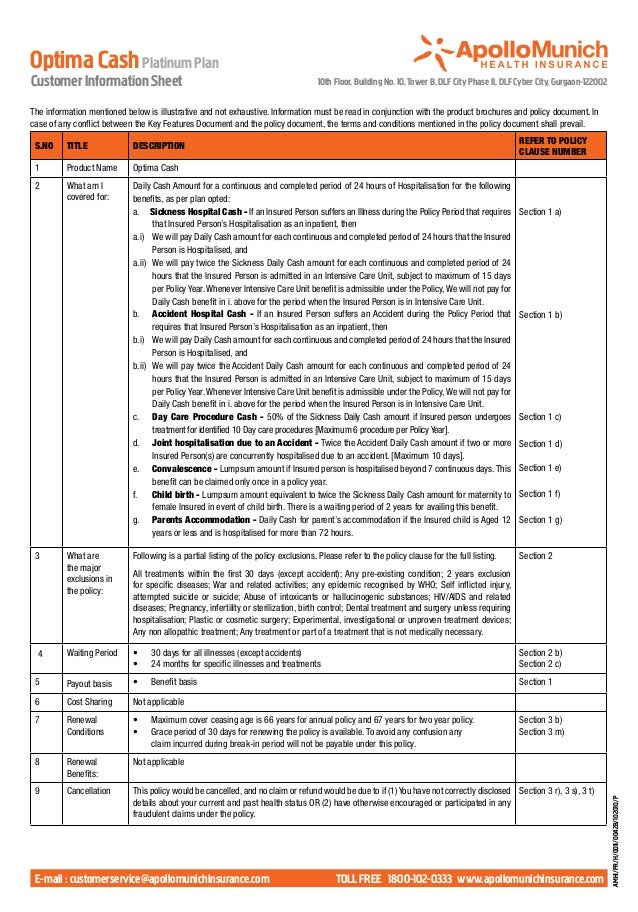 Optima Cash Platinum PlanCustomer Information Sheet                                                          10th Floor, B...