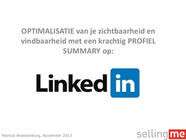 Optimalisatie LinkedIn Profiel Summary
