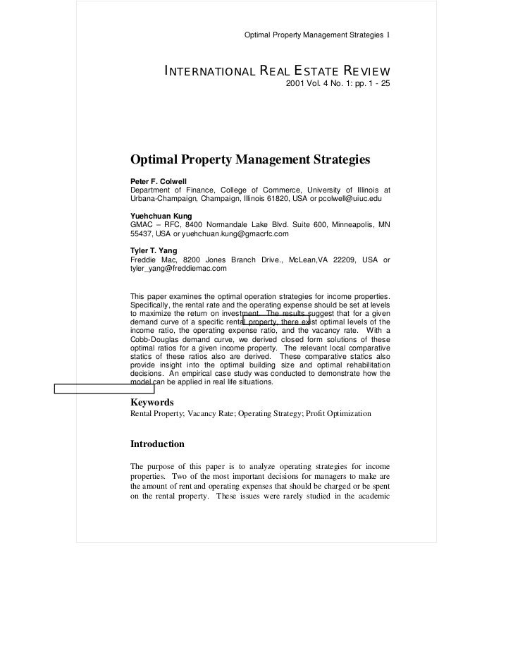 Optimal Property Management Strategies 1          INTERNATIONAL REAL ESTATE REVIEW                                        ...
