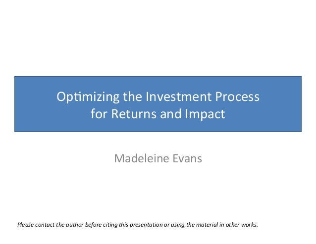 Optimising the investment process for greater impact   a toolkit for impact investors