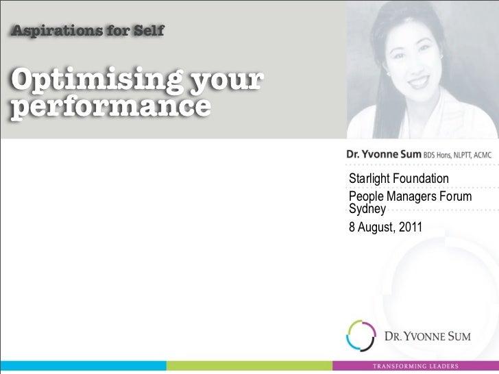 Optimising Your Performance