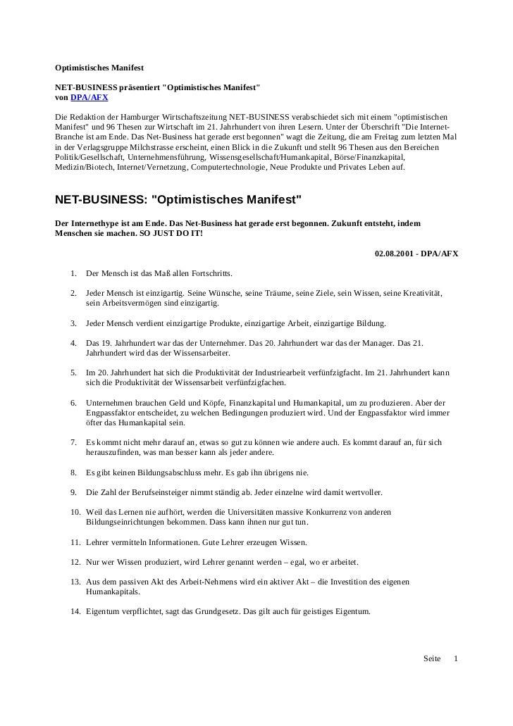 """Optimistisches ManifestNET-BUSINESS präsentiert """"Optimistisches Manifest""""von DPA/AFXDie Redaktion der Hamburger Wirtschaft..."""