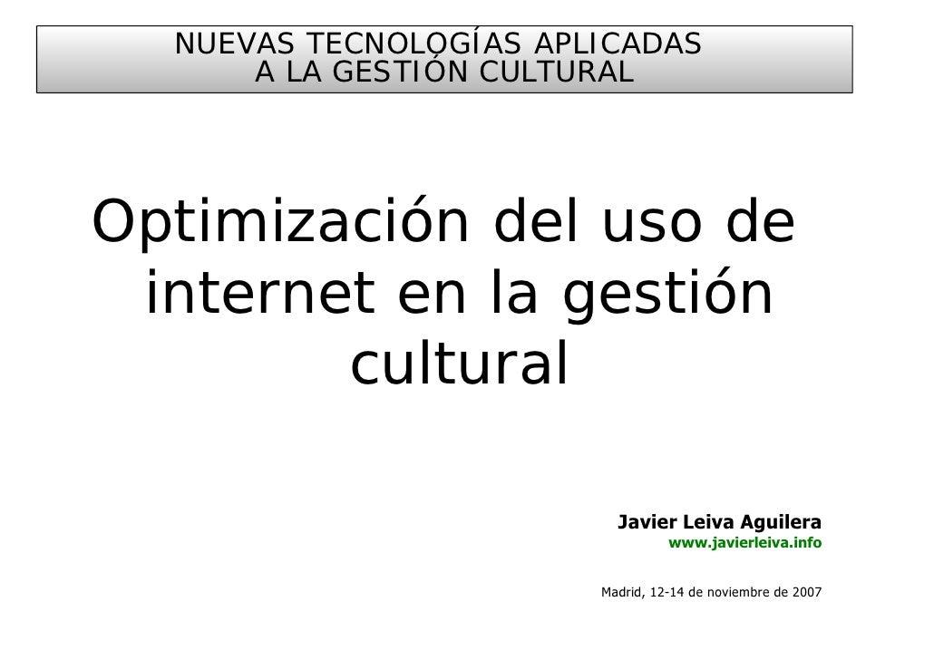 Optimización del uso de internet en la gestión cultural