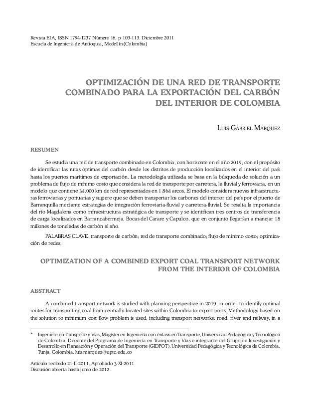 Revista EIA, ISSN 1794-1237 Número 16, p. 103-113. Diciembre 2011 Escuela de Ingeniería de Antioquia, Medellín (Colombia) ...