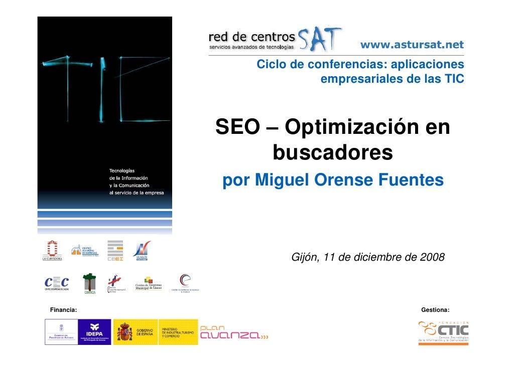 Ciclo de conferencias: aplicaciones                           empresariales de las TIC                SEO – Optimización e...