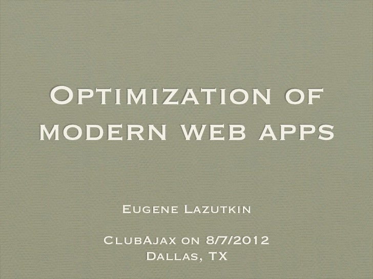 Optimization of modern web applications