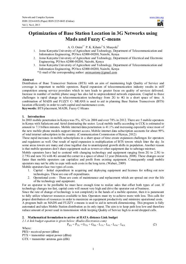 Network and Complex Systems www.iiste.org ISSN 2224-610X (Paper) ISSN 2225-0603 (Online) Vol.3, No.4, 2013 1 Optimization ...