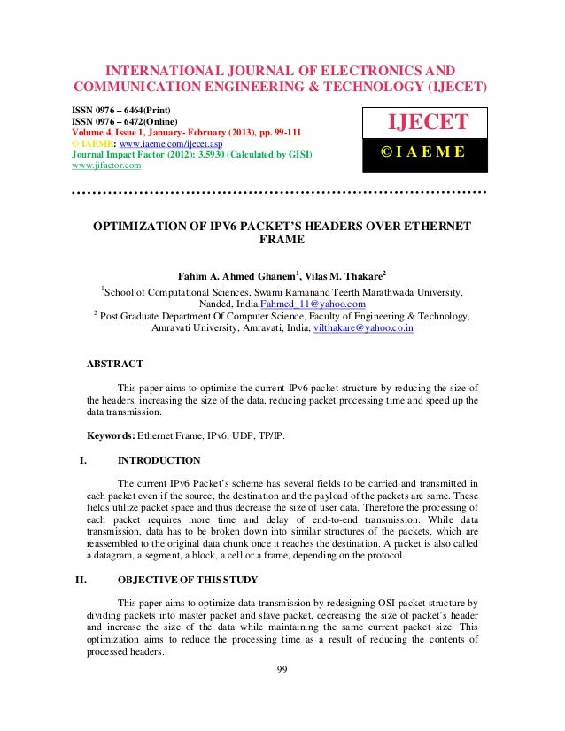 Optimization of ipv6 packet's headers over ethernet