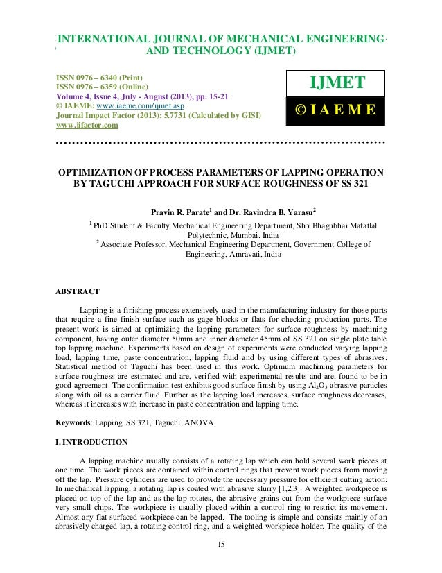 Optimization of process parameters of lapping operation by taguchi appr