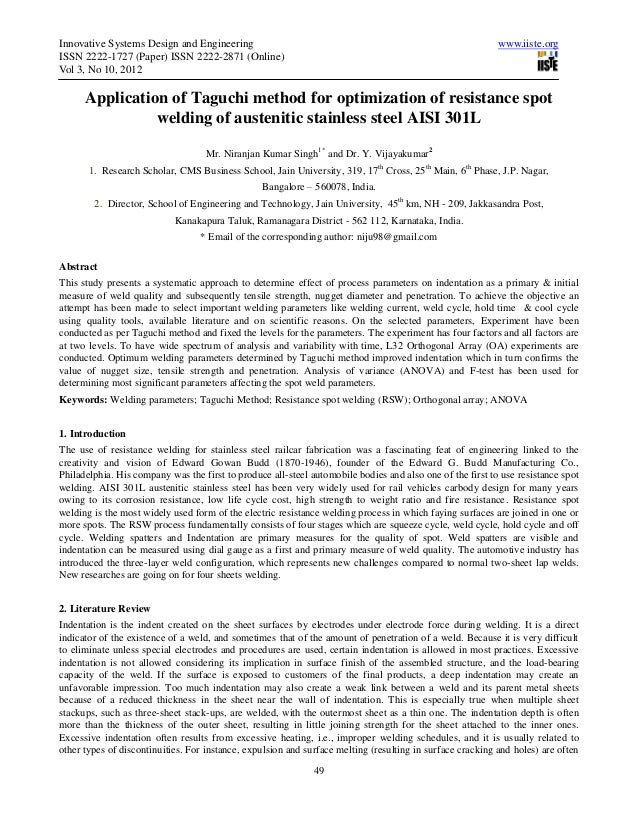 Optimization of resistance spot welding parameters for welding of stainless steel sheet using taguchi method (1)
