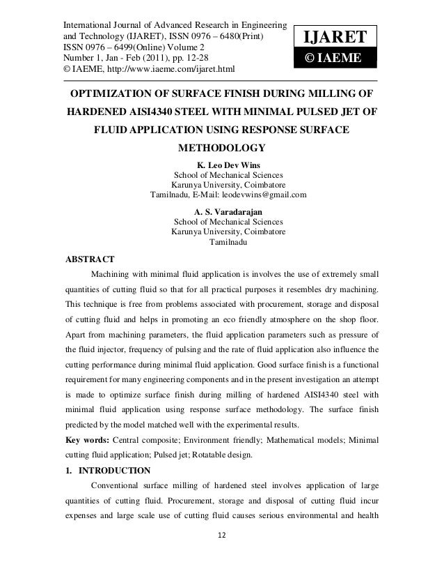 Optimization of surface finish during milling of hardened aisi4340 steel with minimal pulsed jet of fluid application using response surface methodology