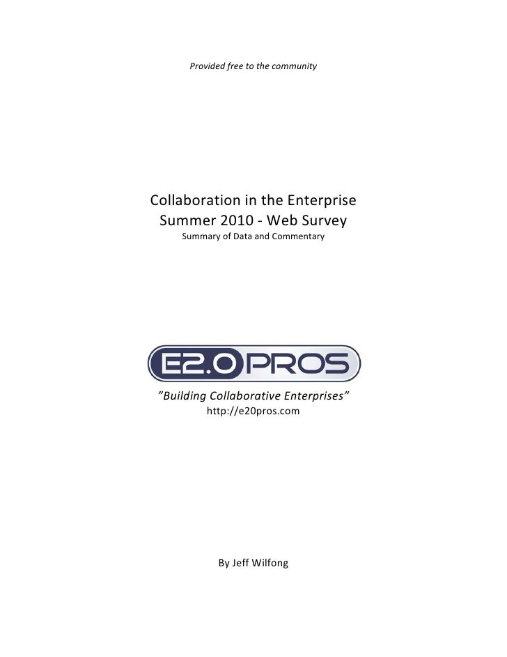 Collaboration in the Enterprise Report (free) - Summer 2010