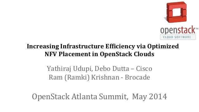 Increasing Infrastructure Efficiency via Optimized NFV Placement in OpenStack Clouds Yathiraj Udupi, Debo Dutta – Cisco Ra...