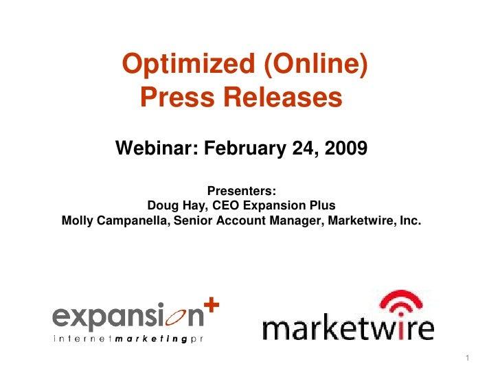 Optimized Press Release Webinar Feb2409 Epmw