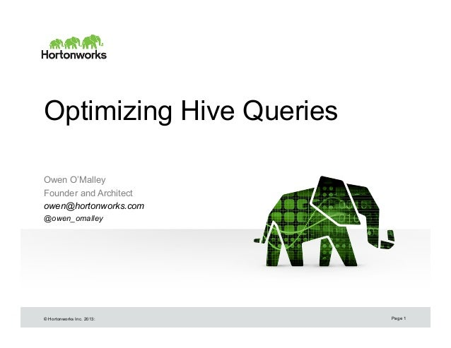Optimizing Hive Queries