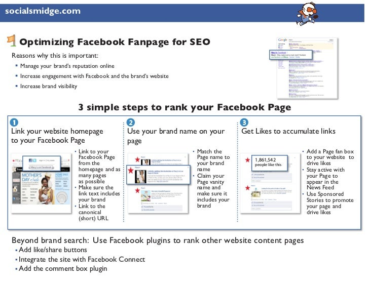 socialsmidge.com     Optimizing Facebook Fanpage for SEO Reasons why this is important:     Manage your brand's reputation...