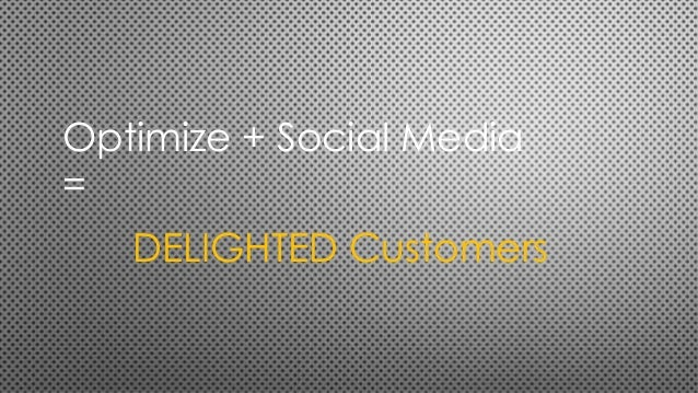 Optimize + Social Media = DELIGHTED Customers