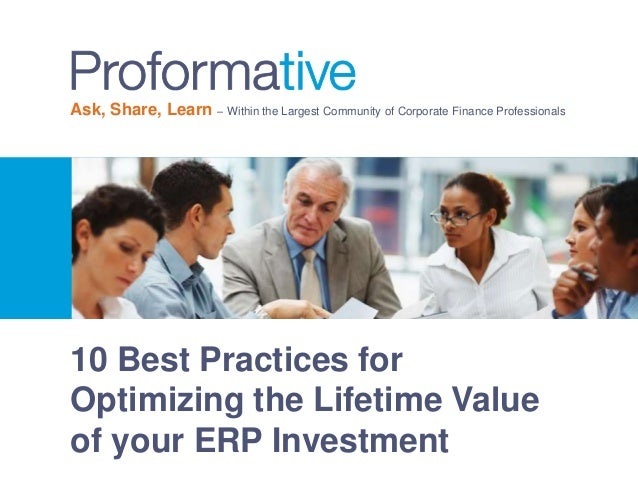 10 Best Practices for Optimizing the Lifetime Value of your ERP Investment