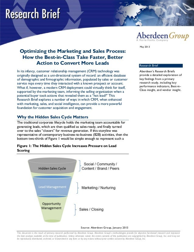 Optimizing the Marketing and Sales Process - Aberdeen Study