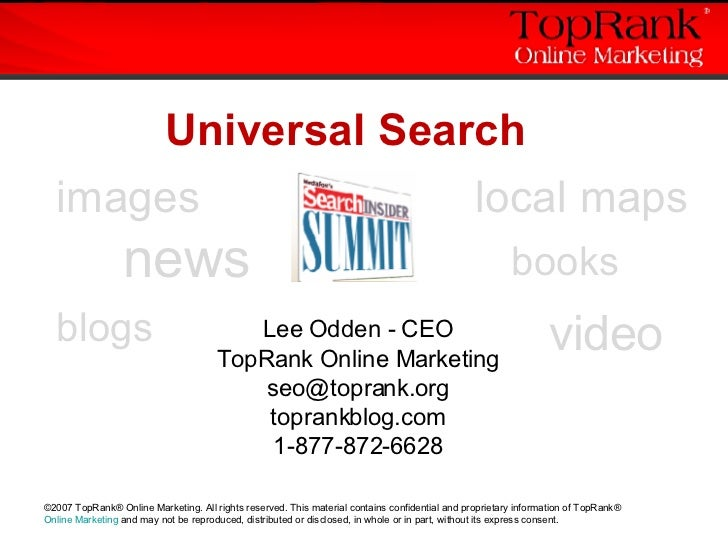 Optimizing Universal Search - Search Insider Summit