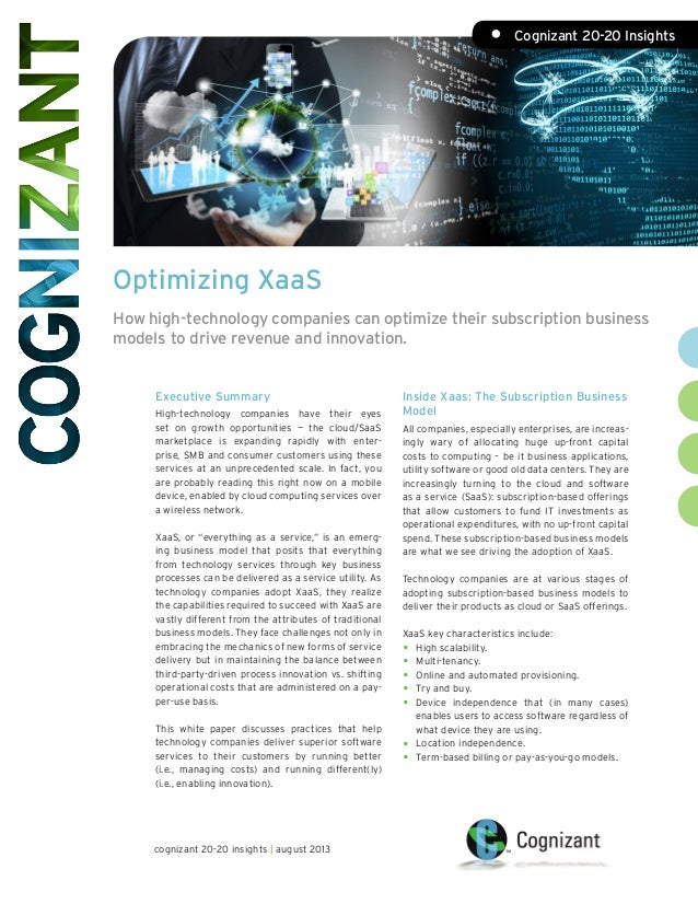 Optimizing XaaS How high-technology companies can optimize their subscription business models to drive revenue and innovat...