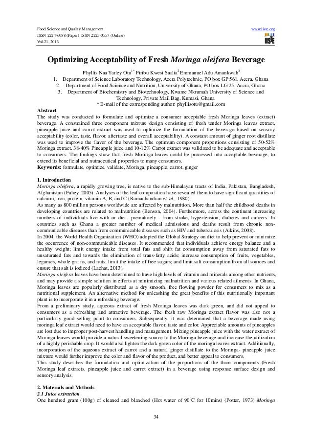 Food Science and Quality Management ISSN 2224-6088 (Paper) ISSN 2225-0557 (Online) Vol.21, 2013  www.iiste.org  Optimizing...
