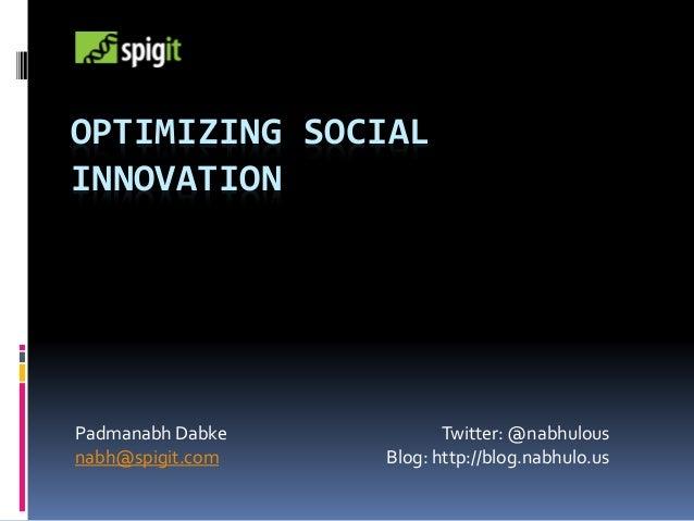 Optimizing Social Innovation