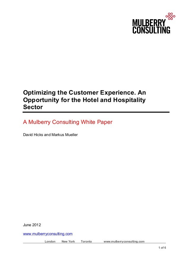 Optimizing the customer experience. an opportunity for the hotel and hospitality sector