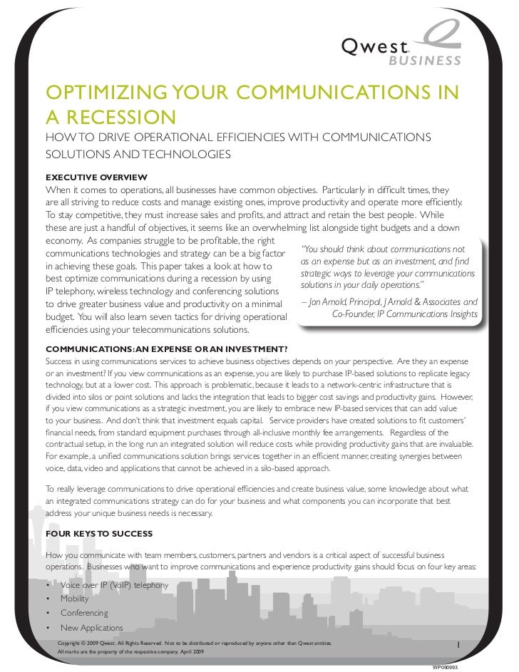 OptimiziNg YOuR COmmuNiCAtiONs iNA ReCessiONHOW TO DRIVE OPERATIONAL EFFICIENCIES WITH COMMUNICATIONSSOLUTIONS AND TECHNOL...