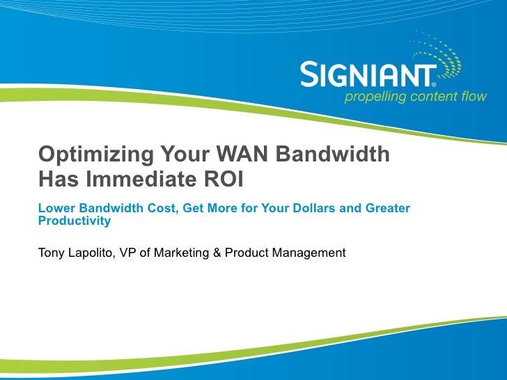 Optimizing Your WAN Bandwidth Has Immediate ROI
