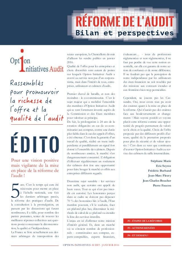 OPTION INITIATIVES AUDIT - JANVIER 2016 P4 - ET DEMAIN ? P3 - ACTIONS MENÉES P2 - ÉTAPES DE LA RÉFORME évaluateurs… - issu...