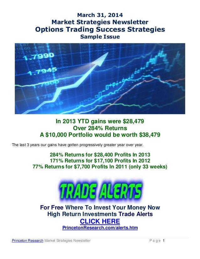 Princeton Research Market Strategies Newsletter P a g e 1 March 31, 2014 Market Strategies Newsletter Options Trading Succ...