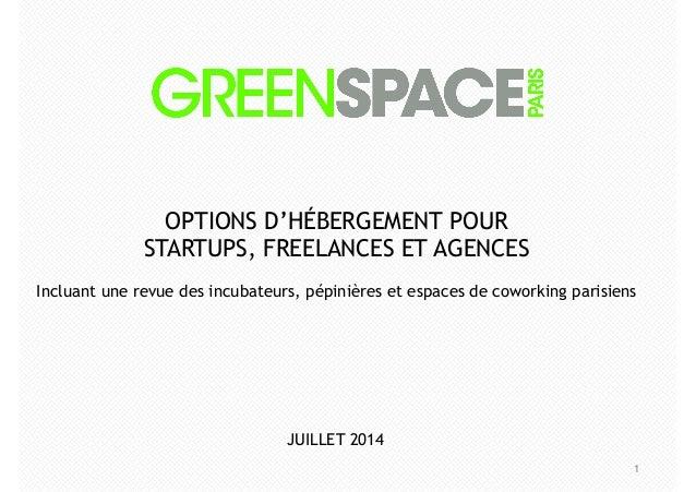 1 OPTIONS D'HÉBERGEMENT POUR STARTUPS, FREELANCES ET AGENCES ! Incluant une revue des incubateurs, pépinières et espaces d...