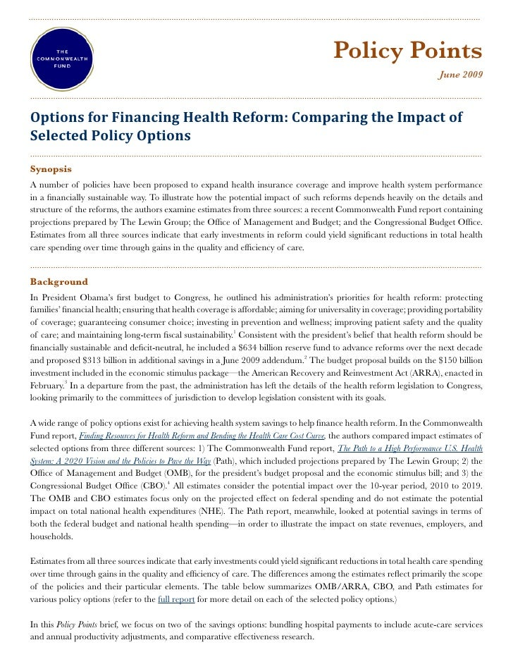 Options For Financing Health Reform Comparing The Impact Of Selected Policy Options