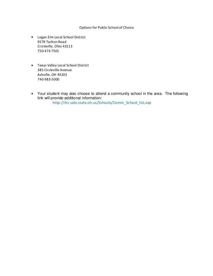 Options for Public School of ChoiceLogan Elm Local School District9579 Tarlton RoadCircleville, Ohio 43113750-474 7501Teay...