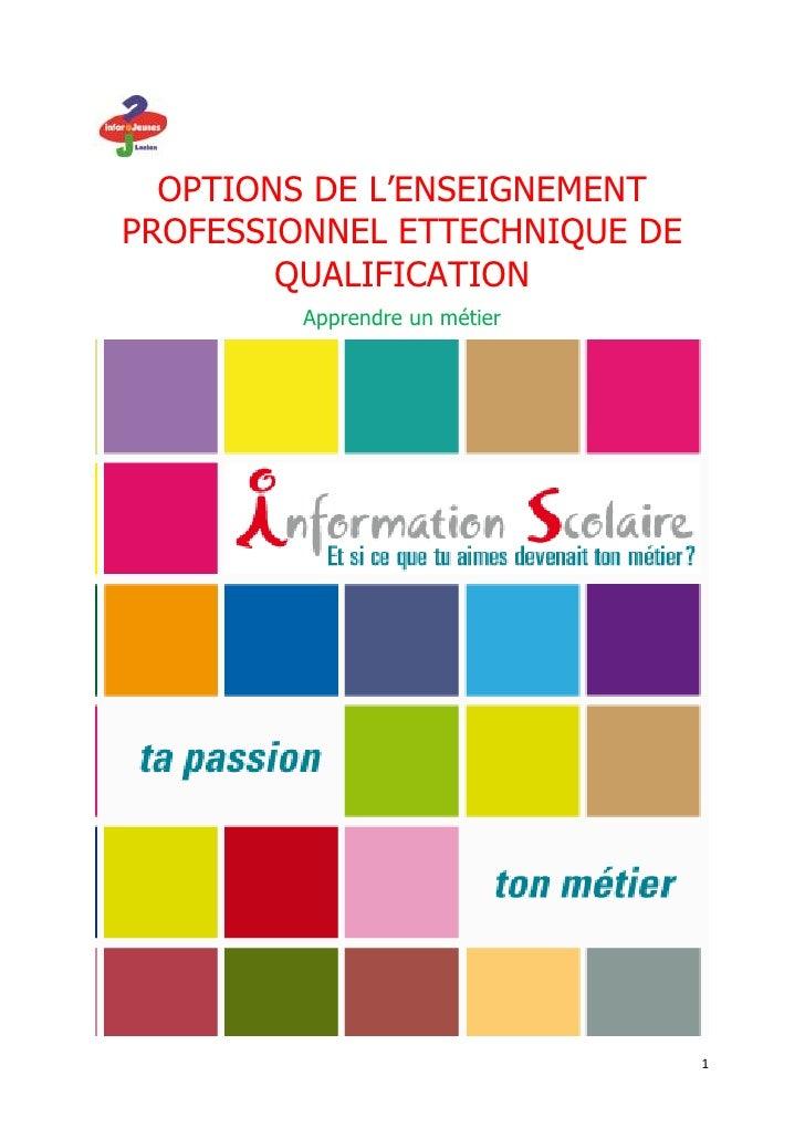 OPTIONS DE L'ENSEIGNEMENTPROFESSIONNEL ETTECHNIQUE DE        QUALIFICATION         Apprendre un métier                    ...