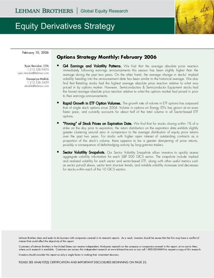 February 10, 2006                                    Options Strategy Monthly: February 2006      Ryan Renicker, CFA      ...