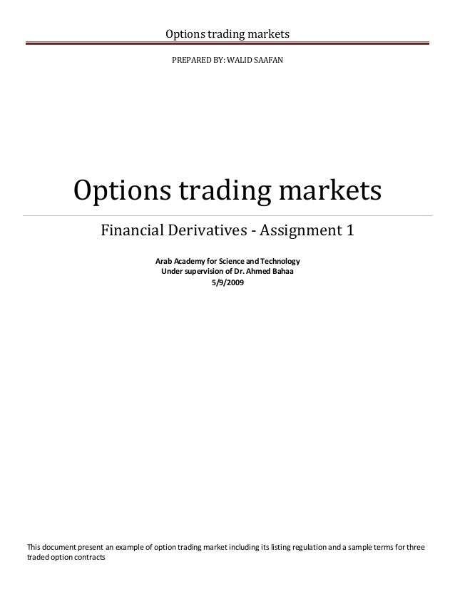 """Business case about """"Options trading markets"""""""