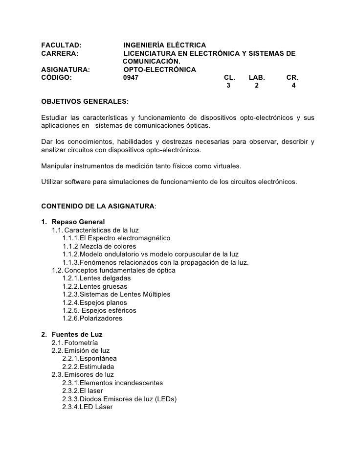 FACULTAD:                 INGENIERÍA ELÉCTRICA CARRERA:                  LICENCIATURA EN ELECTRÓNICA Y SISTEMAS DE        ...