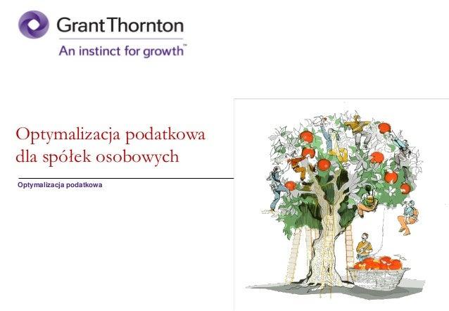 GT - Optymalizacja podatkowa  - spółki osobowe